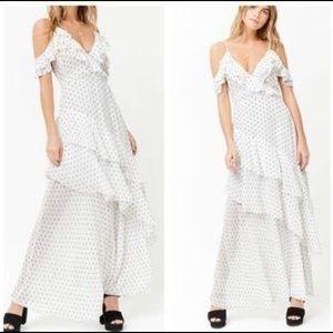 Forever 21 white polka dot tiered dress